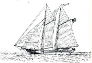 line drawing of a whaleship